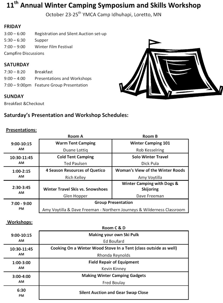 Winter Camping Symposium Workshops