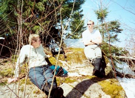 Jim and Matt bask in the sun during a hike break.