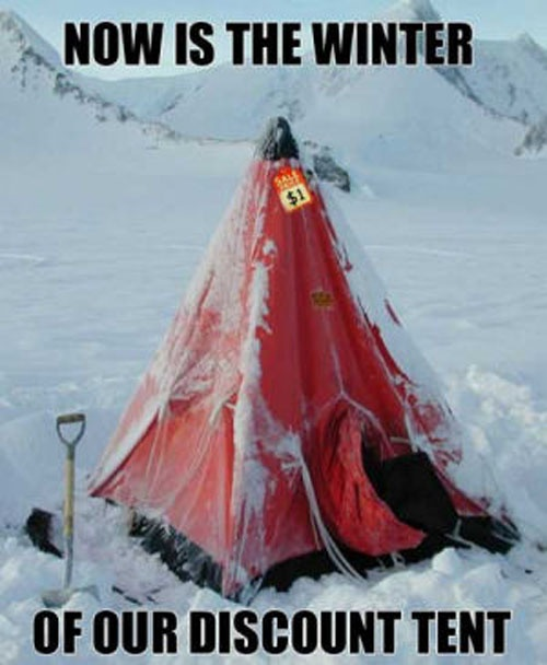 Winter of our Discount Tent